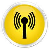 Wlan network icon premium yellow round button. Wlan network icon isolated on premium yellow round button abstract illustration Royalty Free Stock Images