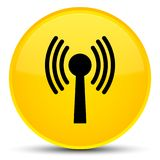 Wlan network icon special yellow round button. Wlan network icon isolated on special yellow round button abstract illustration Royalty Free Stock Image