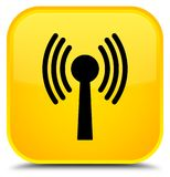 Wlan network icon special yellow square button Stock Image