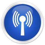 Wlan network icon premium blue round button Stock Image