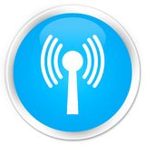 Wlan network icon premium cyan blue round button. Wlan network icon isolated on premium cyan blue round button abstract illustration Royalty Free Stock Images