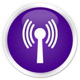 Wlan network icon premium purple round button Royalty Free Stock Image