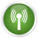 Wlan network icon premium soft green round button. Wlan network icon isolated on premium soft green round button abstract illustration Royalty Free Stock Images