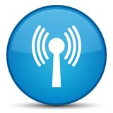 Wlan network icon special cyan blue round button Stock Images