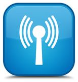 Wlan network icon special cyan blue square button. Wlan network icon isolated on special cyan blue square button abstract illustration Royalty Free Stock Images
