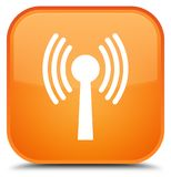 Wlan network icon special orange square button Stock Photography