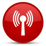 Wlan network icon special red round button. Wlan network icon isolated on special red round button abstract illustration Royalty Free Stock Photography