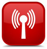 Wlan network icon special red square button. Wlan network icon isolated on special red square button abstract illustration Stock Photography
