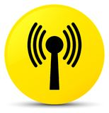 Wlan network icon yellow round button Stock Images