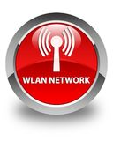 Wlan network glossy red round button. Wlan network isolated on glossy red round button abstract illustration Stock Images