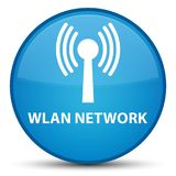 Wlan network special cyan blue round button. Wlan network isolated on special cyan blue round button abstract illustration Stock Photo