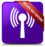 Wlan network purple square button red ribbon in corner. Wlan network isolated on purple square button with red ribbon in corner abstract illustration Royalty Free Stock Images