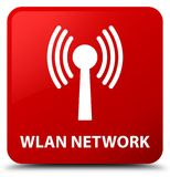 Wlan network red square button Stock Images