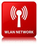 Wlan network red square button Royalty Free Stock Image