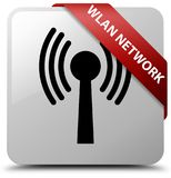 Wlan network white square button red ribbon in corner. Wlan network isolated on white square button with red ribbon in corner abstract illustration Stock Photos