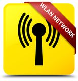 Wlan network yellow square button red ribbon in corner. Wlan network isolated on yellow square button with red ribbon in corner abstract illustration Stock Images