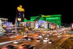 Wlec światło samochody przy jeden środkowe ulicy Las Vegas obraz royalty free
