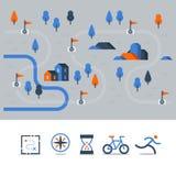 Wlec mapę z flaga, plenerowy bieg, kolarstwo trasa, wieś krajobraz, sport aktywność ilustracja wektor