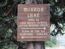 Wlec znaka dla Lustrzanego jeziora, Jeziornego Agnes, Małego ula i równiny Sześć lodowów blisko do Jeziornego Louise w Banff park Obrazy Stock