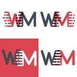 WM marque avec des lettres le logo avec le rose de vitesse d'accent et gris-foncé illustration libre de droits