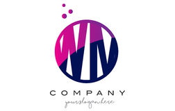 WM W M Circle Letter Logo Design avec Dots Bubbles pourpre Images stock