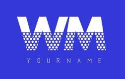 WM W M Dotted Letter Logo Design con el fondo azul Fotos de archivo