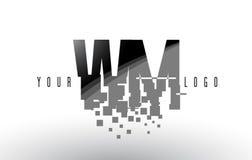 WM W M Pixel Letter Logo com quadrados pretos quebrados Digitas Fotografia de Stock Royalty Free