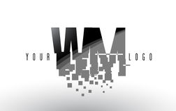WM W M Pixel Letter Logo with Digital Shattered Black Squares Royalty Free Stock Photography