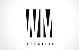 WM W M White Letter Logo Design com quadrado preto Imagem de Stock Royalty Free