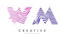 WM W M Zebra Lines Letter Logo Design avec des couleurs magenta Photos libres de droits