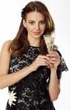 Wman con vetro di champagne Immagine Stock