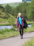 Wman walking in Dovedale Stock Photos