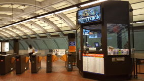 A WMATA rider passes through the turnstiles on the first weekday of Safetrack Royalty Free Stock Image