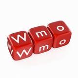 WMO en dados rojos Fotos de archivo libres de regalías