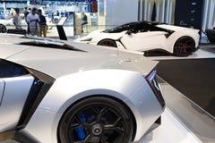 WMotors Lykan和Fenyr hypersport汽车在迪拜汽车展示会2017年 库存图片