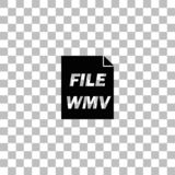 WMV icon flat. WMV. Black flat icon on a transparent background. Pictogram for your project royalty free illustration