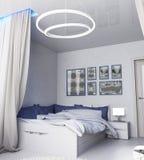 Wnętrze nowożytna sypialnia, robić w ciemnych kolorach ilustracji