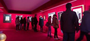 Wnętrza z sławnymi pracami artysta w Dali muzeum Obrazy Stock