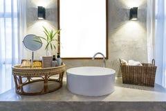 Wnętrze łazienka z zlew basenowym faucet lustrem i Nowożytny d Zdjęcie Stock