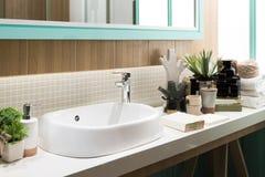 Wnętrze łazienka z zlew basenowym faucet lustrem i Nowożytny d Zdjęcia Stock