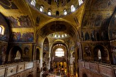 Wnętrze Świątobliwa Mark ` s bazylika w Wenecja Obraz Royalty Free