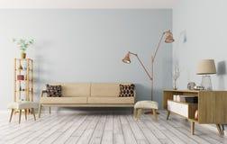 Wnętrze żywy pokój z kanapą 3d odpłaca się royalty ilustracja