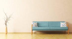 Wnętrze żywy pokój z kanapą i gałęziastym 3d renderingiem Zdjęcia Royalty Free