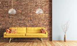 Wnętrze żywy pokój z kanapa renderingiem Zdjęcie Royalty Free