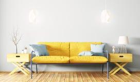 Wnętrze żywy pokój z kanapy 3d renderingiem Obraz Stock