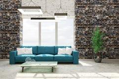 Wnętrze żywy pokój z kanapy 3d renderingiem Zdjęcia Stock