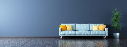 Wnętrze żywy pokój z kanapy panoramy 3d renderingiem Zdjęcia Stock