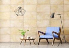 Wnętrze żywy pokój z karła 3d renderingiem ilustracja wektor