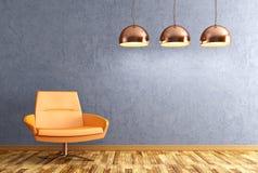 Wnętrze żywy pokój z karła i lamp 3d renderingiem Obraz Royalty Free