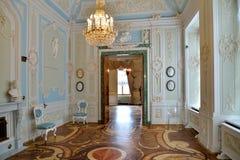 Wnętrze Błękitna sala z parkietową podłoga z circula Zdjęcie Stock